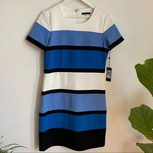 NWT Tommy Hilfiger Midi Dress Striped Blue White 6